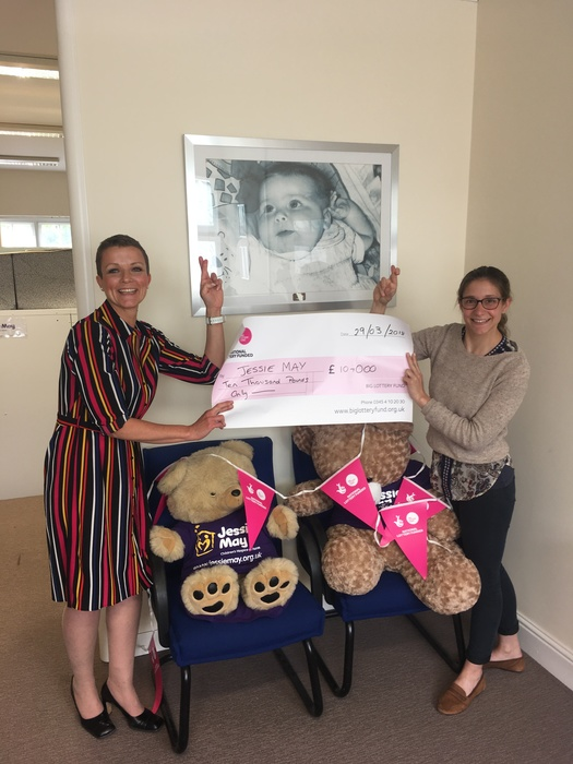 Fiona and Helen from Jessie May celebrate the National Lottery Funding for the charity's