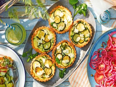 Recipe: Watercress, courgette and ham quiches